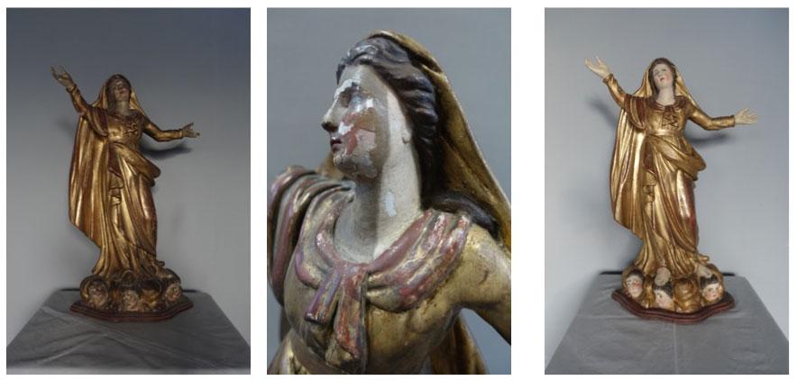 bois polychromé et doré Vierge à l'Enfant, bois polychromé et doré, XVIIIe siècle - collection particulière