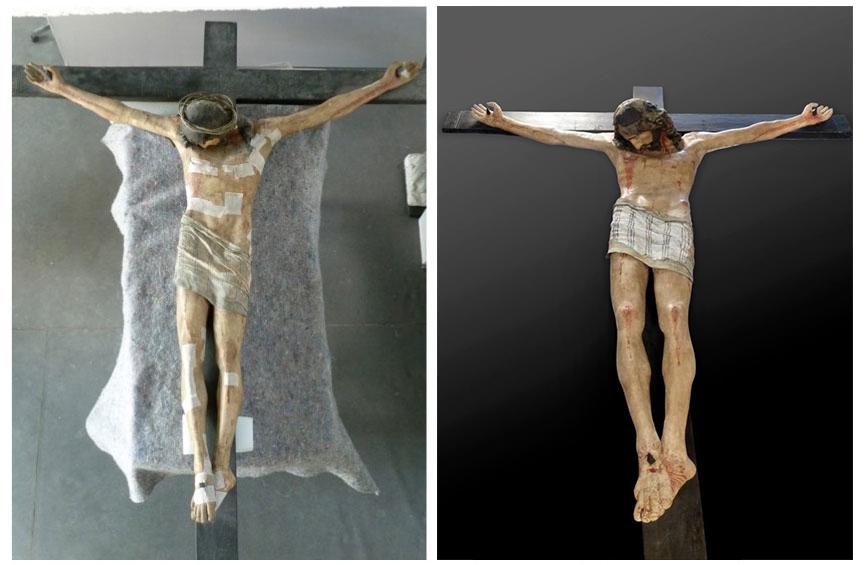 Bois polychromé Christ en croix, art espagnol, fin XVIe début XVIIe, cathédrale de Nantes (44) ; mortier, textiles, liège, métal - Vues avant / après traitement.