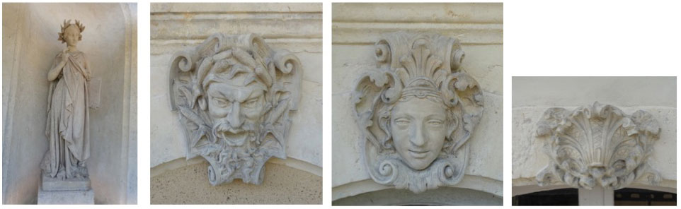 Restauration de terres cuites polychromée Deux sculptures en pied, neuf mascarons et sept coquilles en agrafe ; terre cuite, façade nord du Château de Moléans, (28).