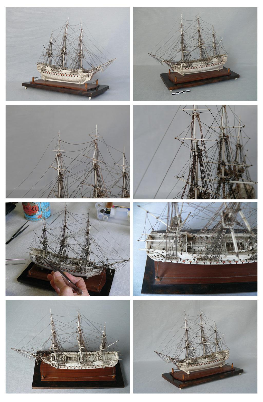 Restauration d'une maquette de ponton en os